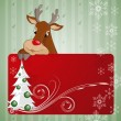 Christmas card with deer. Vector illustration — 图库矢量图片
