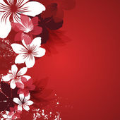 Red background with flowers — Vector de stock