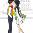 Kissing couple of young people — Imagen vectorial