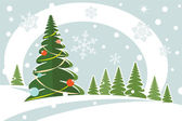 Snowy christmas firtree — Stock Vector