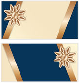Festive Golden Bow Blue Banners — Stock Vector