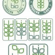 Stamps and icon with bio symbol - Stock Vector