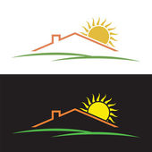 House sun hills silhouettes — Stock Vector