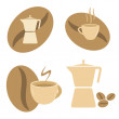 Mokka pot, coffee cups and beans - Stock Vector
