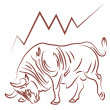 Bull and bullish stock market trend — Stock Vector