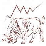 Bull and bullish stock market trend — Stock Vector