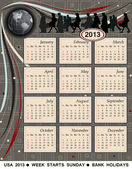 Kalender 2013 - usa — Stockvektor
