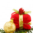 Christmas golden bauble and gifts — Stock Photo #1282787