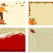 Autumn set of 4 cards — Stock Vector