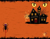 Grungy Halloween party card with ghosts mansion — Stock Vector