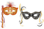 Carnival masks - gold and silver — Stock Vector