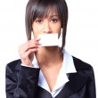 Girl holding empty business card in front of her mouth — Stock Photo #22922266
