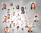 Velké množství izolované portréty podnikání — Stock fotografie
