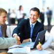 Business shaking hands, finishing up a meeting — Foto de stock #22942514