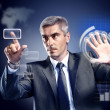 Businessman pressing high tech type of modern buttons on a virtual background — Foto Stock