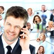 Lots of isolated portraits of business — Stock Photo