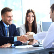 Stock Photo: Businessman shaking hands to seal a deal with his partne