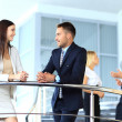 Business partners discussing while on the stairs — Stock Photo #30245233