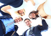 A group of people in a circle on white background — Stock Photo