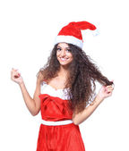 Beautiful happy woman in Santa Claus clothes — Stockfoto
