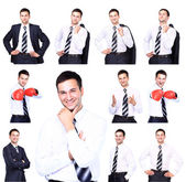 Collection of portraits of businessman — Stock Photo