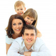 Beautiful happy family - isolated over a white background — Stock Photo