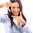 Young woman framing her hands, over white — Stock Photo #5149634