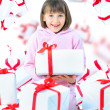 Girl child with gift box. Isolate — Stock Photo #8669257