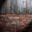 Spotlight on Dark Grungy Wall — Stock Photo