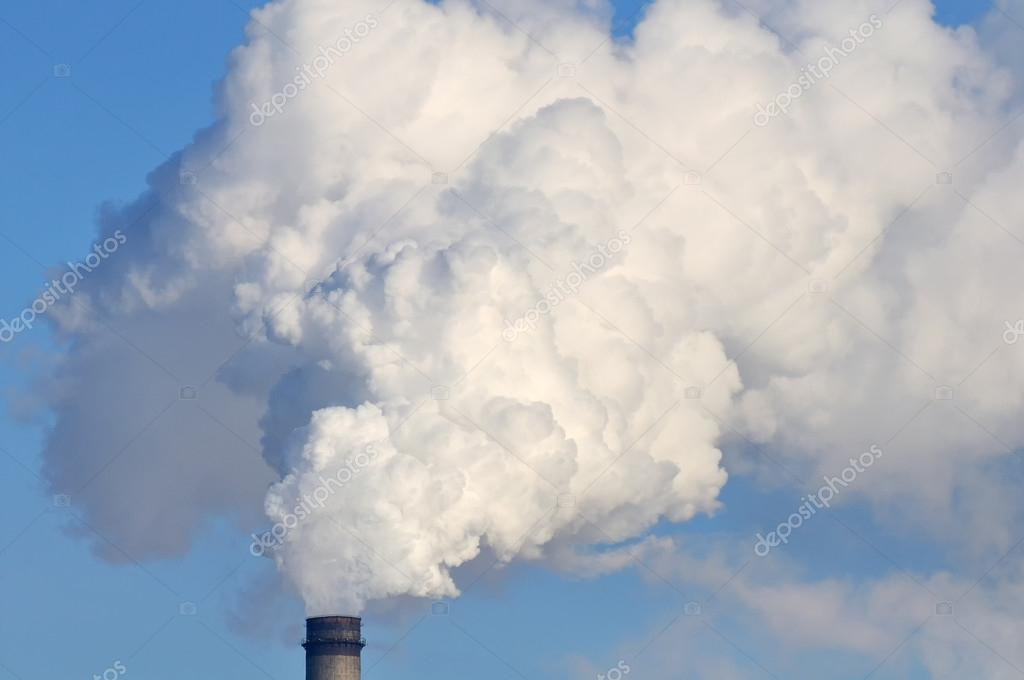 Clouds of white smoke coming from an industrial smokestack of a thermal power plant  — Stock Photo #13243431