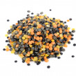 Mixed (Black, Orange and Yellow) Lentils Isolated on White Background - Stock Photo