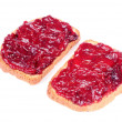 Jam Toasts Isolated on White Background — Stock Photo