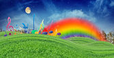 Music Notes, Rainbow and Moon in Blue Sky over Green Hills — Stock Photo
