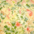 Raw Spring Onion and Tomato Omelet — Stock Photo