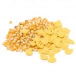 Corn Kernels and Cornflakes Isolated on White Background — Stock Photo