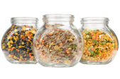Glass Jars with Assorted Cereals (Lentils, Rice and Split Peas) Isolated on White Background — Stock Photo