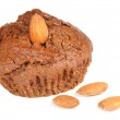 Brownie Cupcake with Almonds Isolated on White Background — Stock Photo