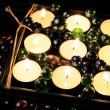 Burning Candles with Glass Stones in the Dark — Stock Photo