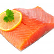 Salmon Fillet with Lemon Isolated on White Background — Stock Photo