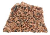 Stuk van gepolijst rood graniet op een witte achtergrond — Stockfoto