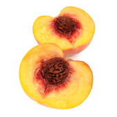 Two Halves of Peach Isolated on White Background — Stock Photo