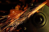 Glowing Flow of Sparks from Grinder — Stock Photo