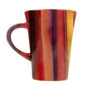 Mug with Fabric Print Isolated on White Background — Stock Photo