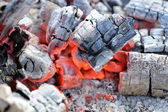 Red Hot Wood Embers Close-Up — Stock Photo