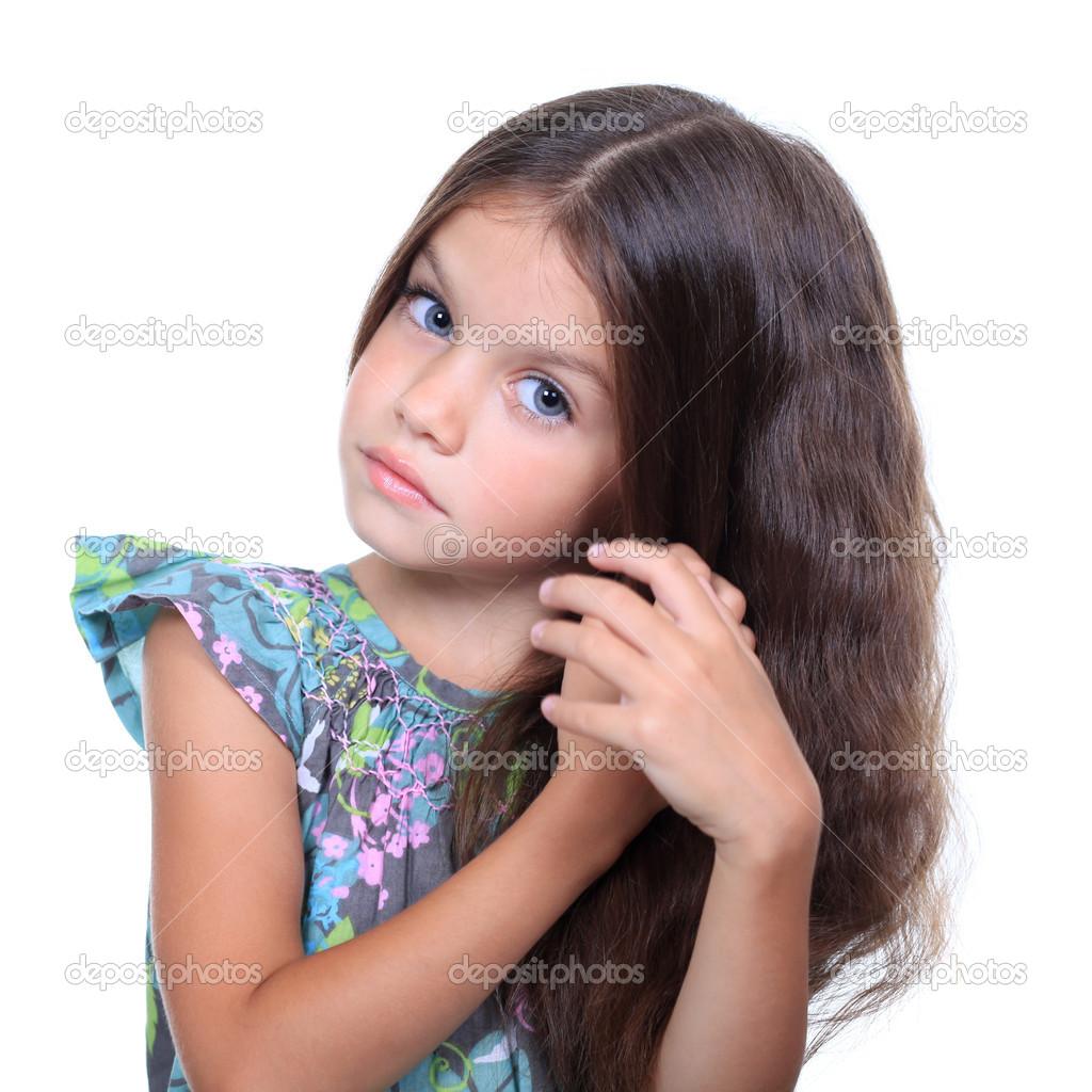 closeup portrait of pretty little girl stock photo. Black Bedroom Furniture Sets. Home Design Ideas