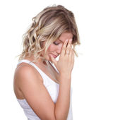 Sad blonde young woman — Stock Photo