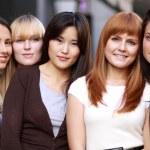 Closeup portrait of five urban women — Stock Photo