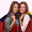 Twins sisters holding shopping bags — Stock Photo