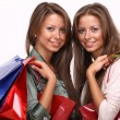 Twins sisters holding shopping bags - Stockfoto