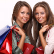 Twins sisters holding shopping bags - Stock Photo
